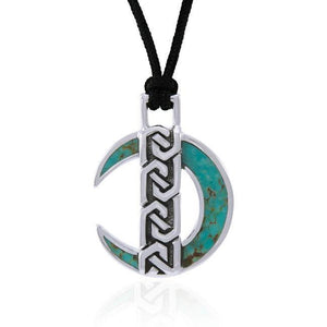 Celtic Crescent Moon Sterling Silver Pendant TPD4675 peterstone.