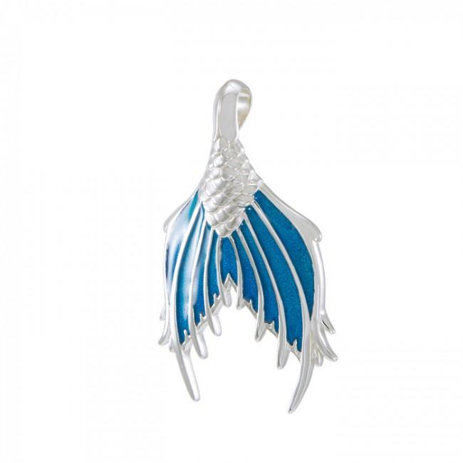 Mermaid Tail with Enamel Sterling Silver Pendant TPD4899 peterstone.