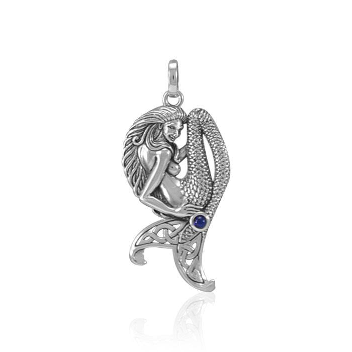 Mermaid Goddess Sterling Silver Pendant with Gemstone