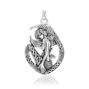 Celtic Mermaid Goddess Sterling Silver Pendant TPD4940 peterstone.