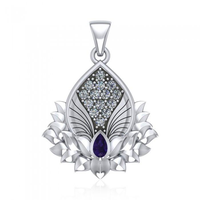 Angel Wings and Lotus with Gemstone Silver Pendant