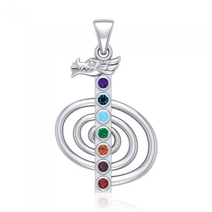 The Reiki Cho Ku Rei with Dragon Head Sterling Silver Pendant with Chakra TPD4963 Pendant