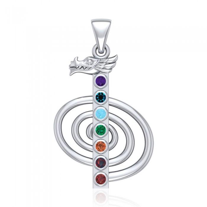 The Reiki Cho Ku Rei with Dragon Head Sterling Silver Pendant with Chakra Gemstone