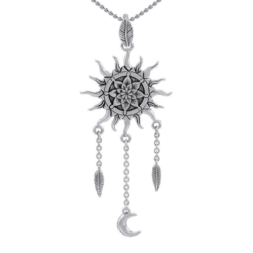 Sterling Silver Sun Moon Pendant Jewelry TPD4965