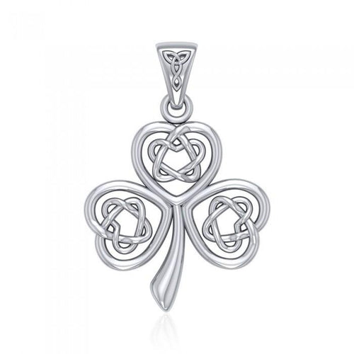 Celtic Heart Shamrock Sterling Silver Pendant