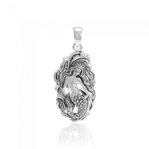 Mermaid Goddess with Wave Sterling Silver Pendant