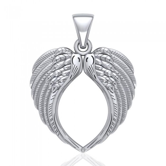 Large Angel Wing Sterling Silver Pendant