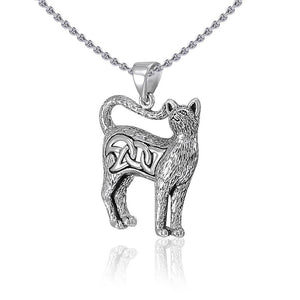 Celtic Cat Silver Pendant TPD5019