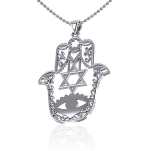 Hamsa Star of David Sterling Silver Pendant TPD5077 peterstone.