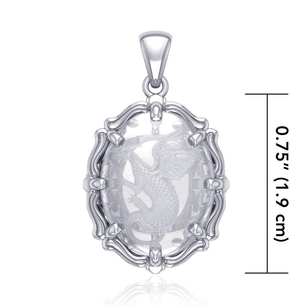 Beyond the dragonเน'โ'ฌย™s fierce presence - Sterling Silver Pendant with Natural Clear Quartz TPD5122