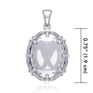 Angel Wings Sterling Silver Pendant with Natural Clear Quartz TPD5125