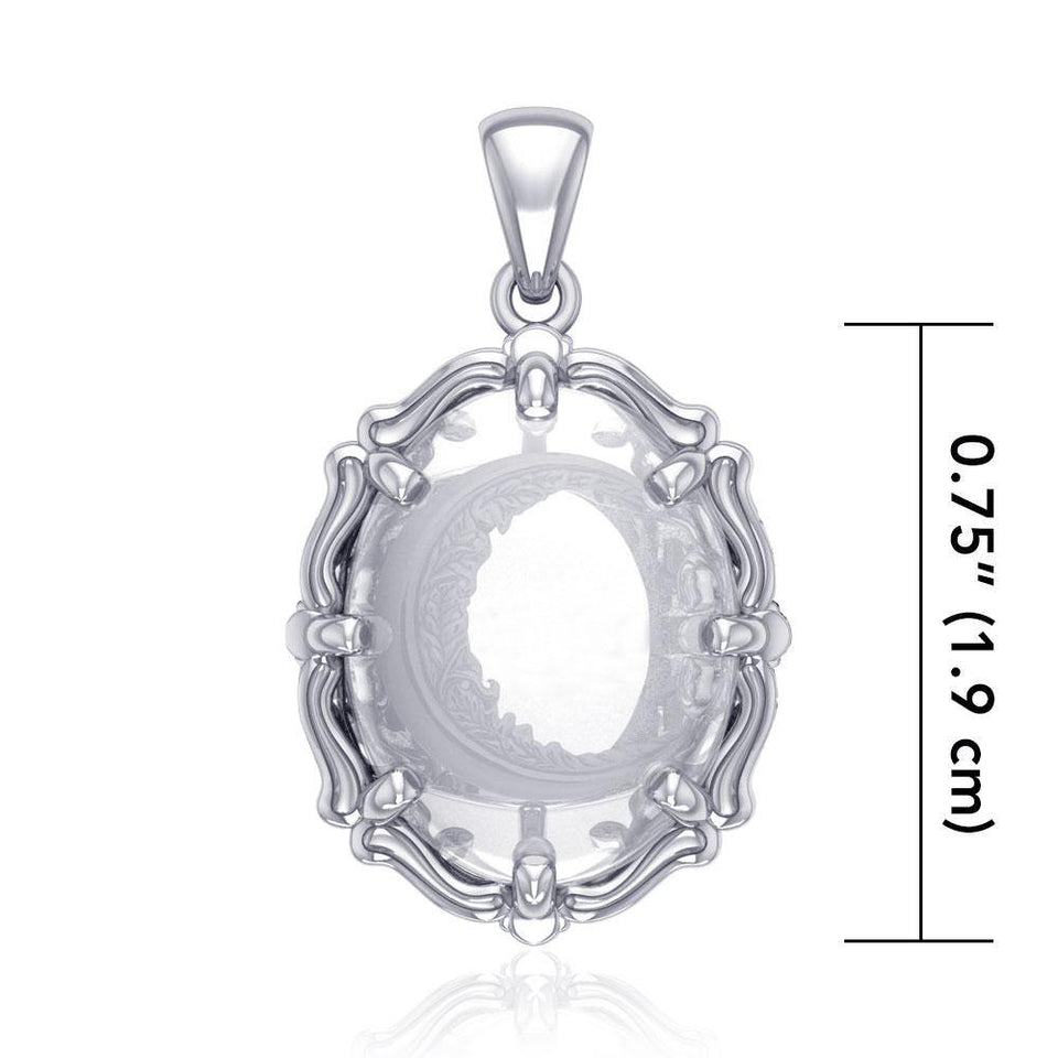 Crescent Moon Sterling Silver Pendant with Natural Clear Quartz TPD5130 peterstone.