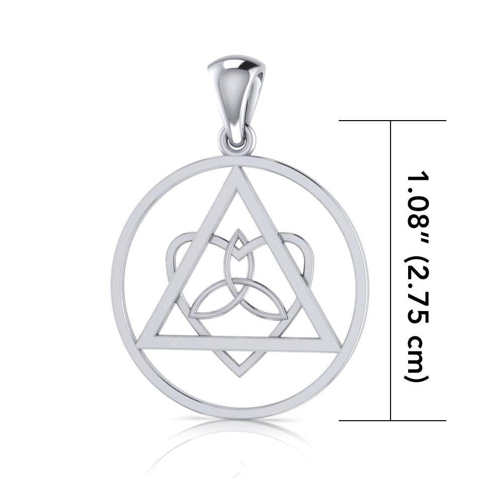 AA Recovery Symbol with Knotwork Heart Silver Pendant TPD518 peterstone.