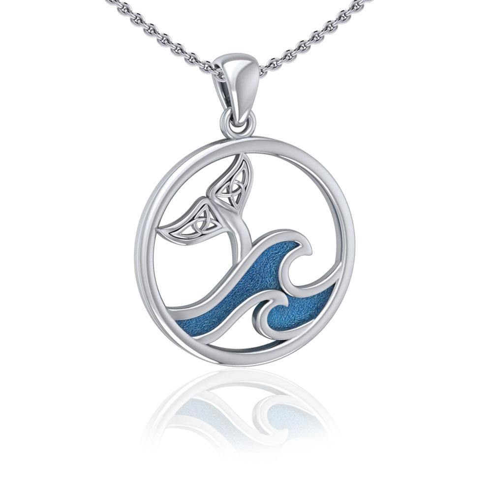 Sterling Silver Round Celtic Whale Tail Pendant with Enamel Wave TPD5185