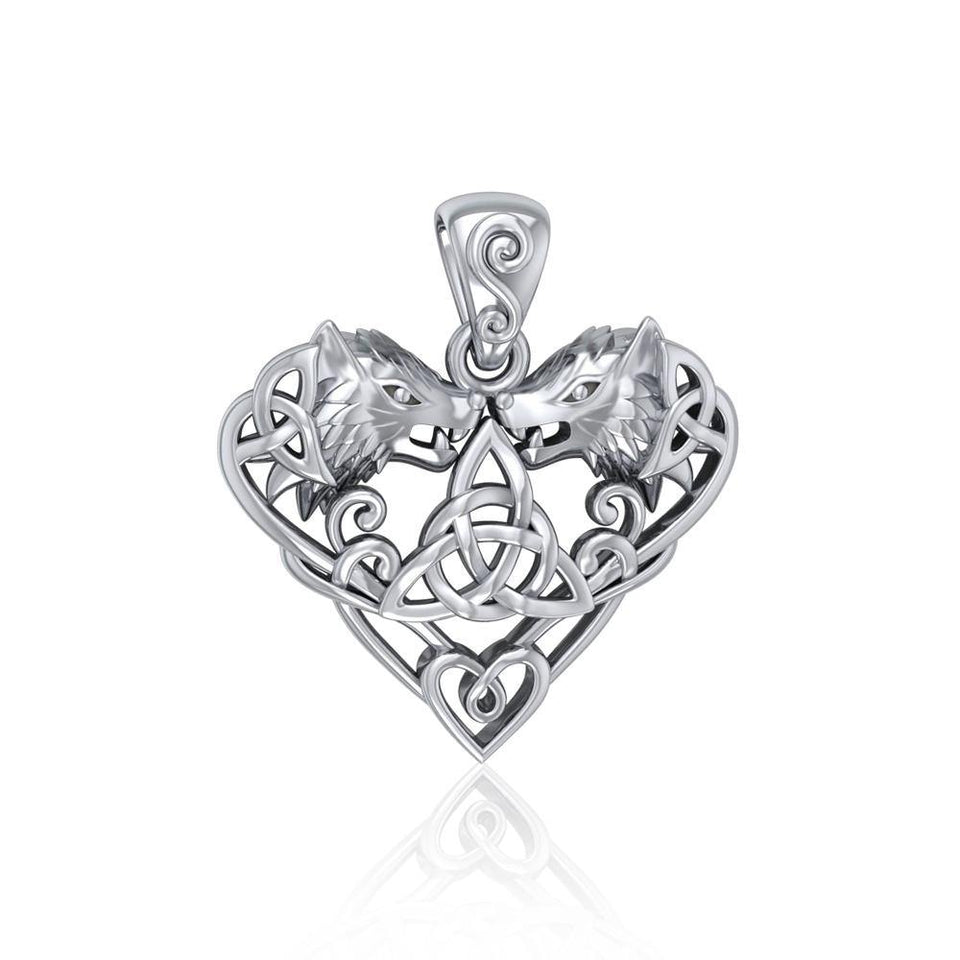 Silver Wolves with Celtic Triquetra in Heart Pendant TPD5212 peterstone.