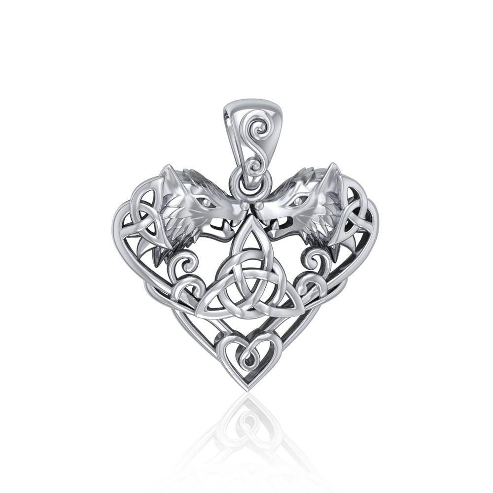 Silver Wolves with Celtic Triquetra in Heart Pendant TPD5212
