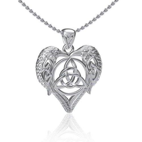 Silver Ravens Crows with Celtic Triquetra in Heart Pendant TPD5213