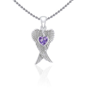 Heart Gemstone and Double Angel Wings Silver Pendant TPD5229