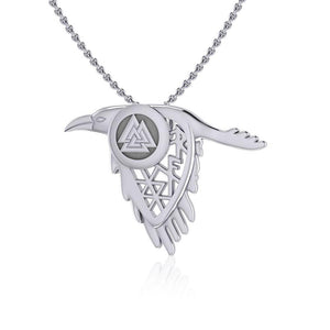 Odin Raven and Spirit Rune Silver Pendant TPD5239 peterstone.