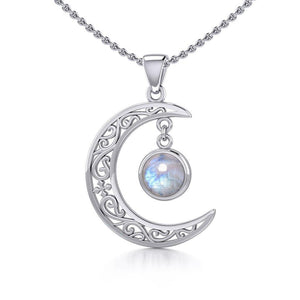 The Filigree Moon Silver Pendant with Dangling Gemstone TPD5263