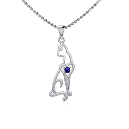 Lovely Heart Cat Silver Pendant with Gem TPD5273 peterstone.