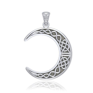 Large Celtic Crescent Moon Silver Pendant TPD5275