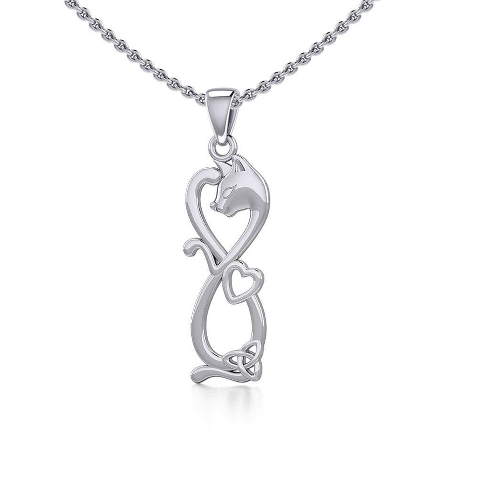Infinity Cat with Heart and Celtic Trinity Knot Silver Pendant TPD5279 peterstone.