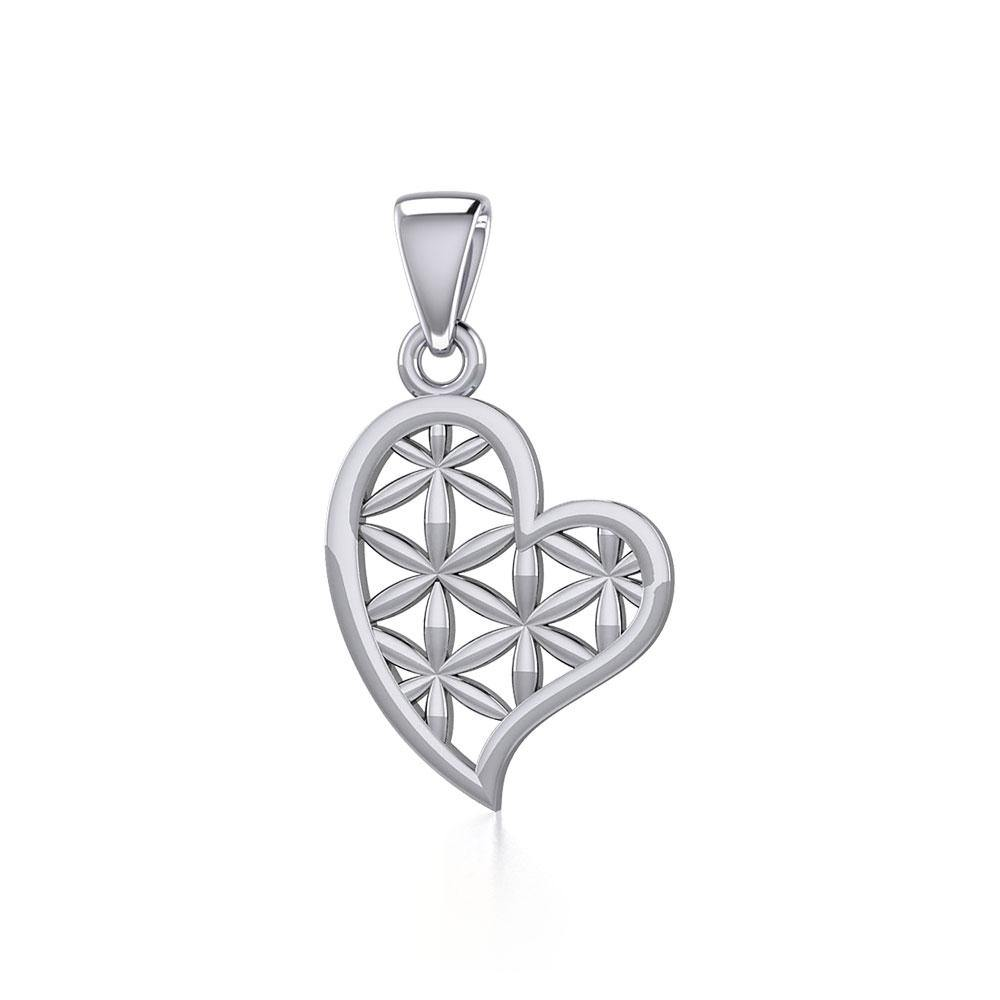 Silver Heart with Flower of Life Pendant TPD5284
