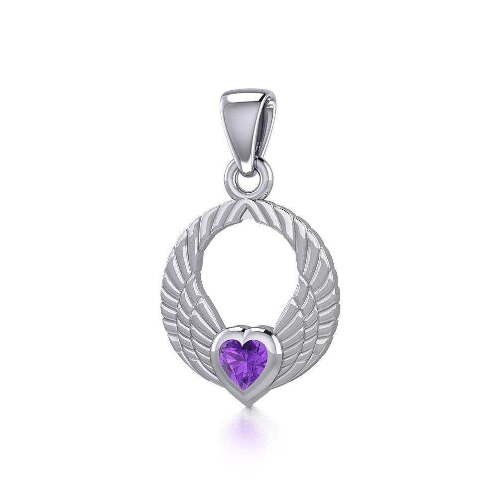 Double Angel Wings Silver Pendant with Gemstone TPD5286