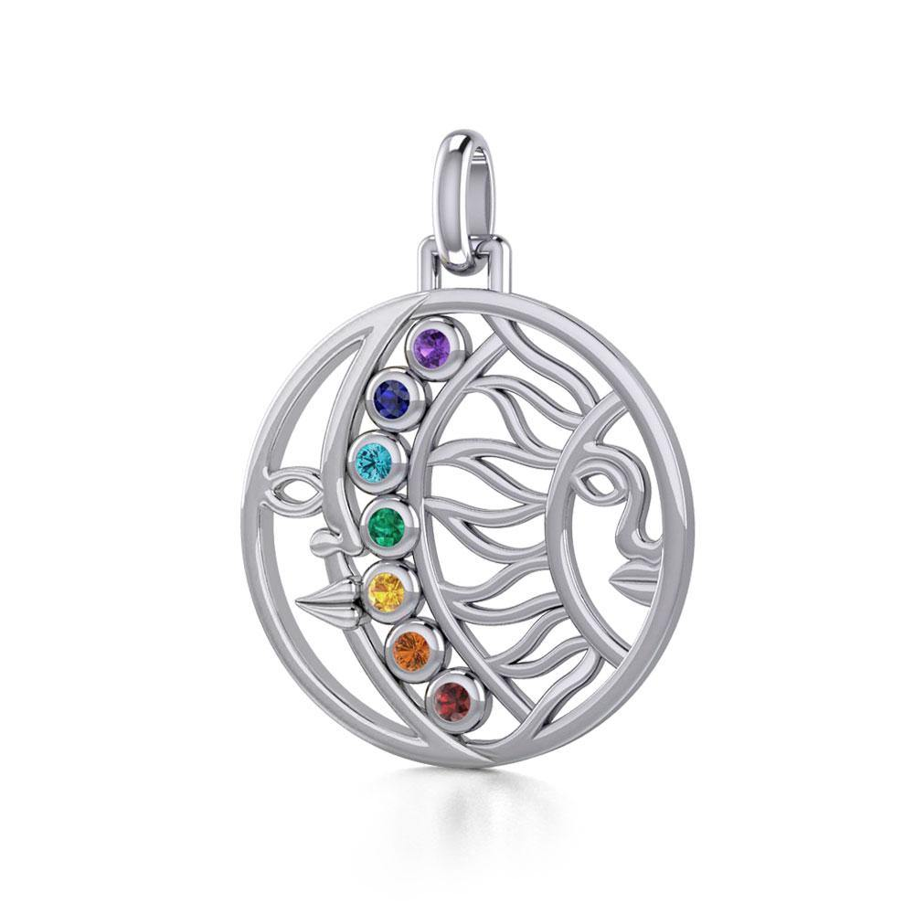 Sun and Moon Silver Pendant with Chakra Gemstone TPD5290