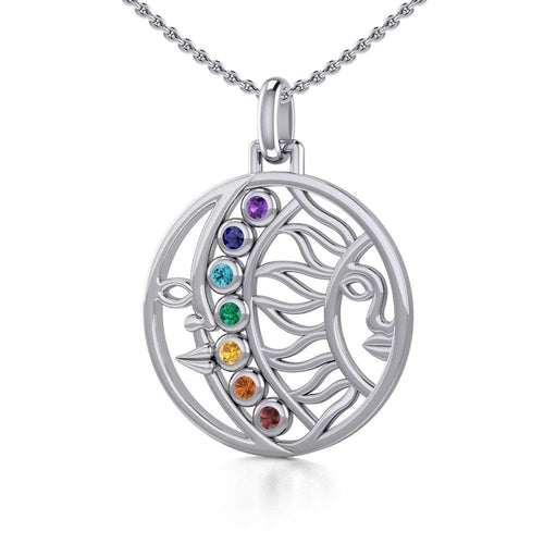 Sun and Moon Silver Pendant with Chakra Gemstone TPD5290 peterstone.