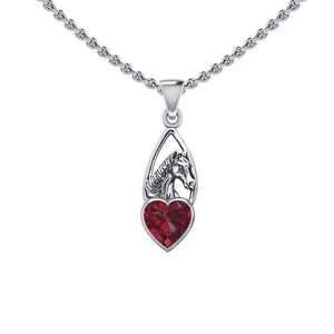 Horse Over Heart Gemstone Silver Pendant TPD5291