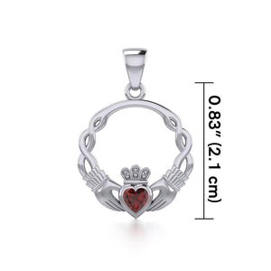 Silver Claddagh Silver Pendant with Gemstone TPD5294