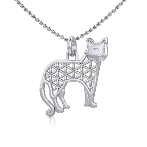 Flower of Life Cat Silver Pendant TPD5298
