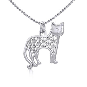 Flower of Life Cat Silver Pendant TPD5298 peterstone.