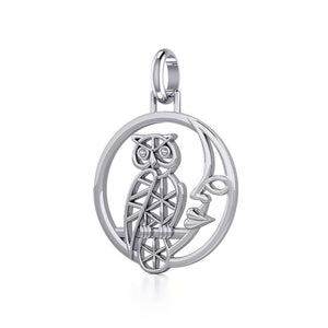 Silver Flower of Life Owl on The Moon Pendant TPD5300 peterstone.