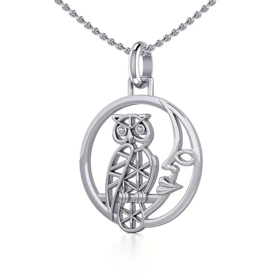Silver Flower of Life Owl on The Moon Pendant TPD5300