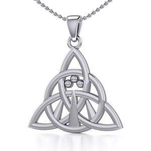 Triquetra with Awen The Three Rays of Light Silver Pendant TPD5306