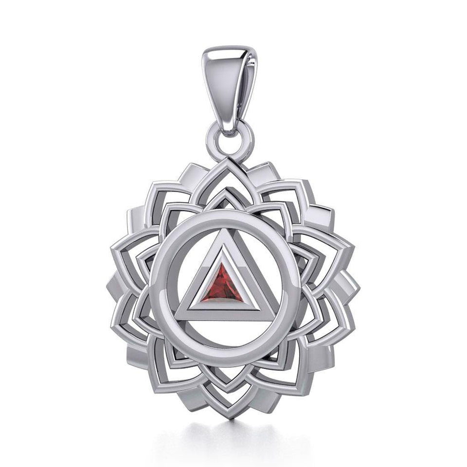 Crown Chakra with Recovery Gemstone Symbols Silver Pendant TPD5307 peterstone.