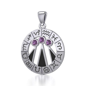 Zodiac Wheel with Awen The Three Rays of Light Silver Pendant TPD5308 peterstone.