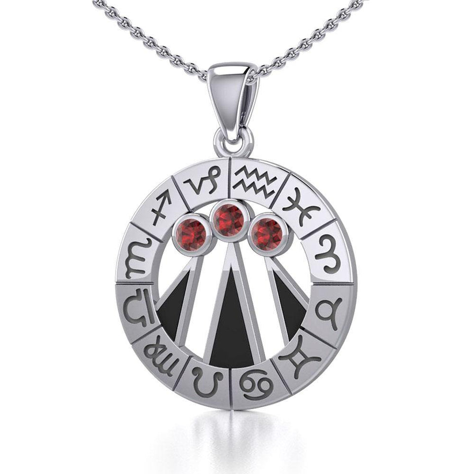 Zodiac Wheel with Awen The Three Rays of Light Silver Pendant TPD5308