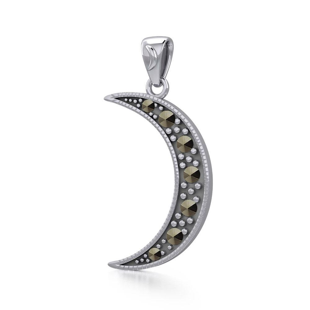Sterling Silver Crescent Moon Pendant with Marcasite TPD5315 peterstone.