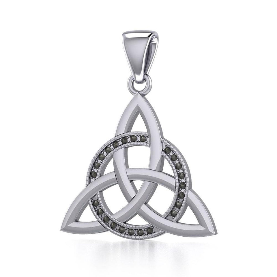 Sterling Silver Celtic Triquetra Pendant with Marcasite TPD5316 peterstone.