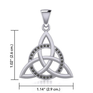 Sterling Silver Celtic Triquetra Pendant with Marcasite TPD5316