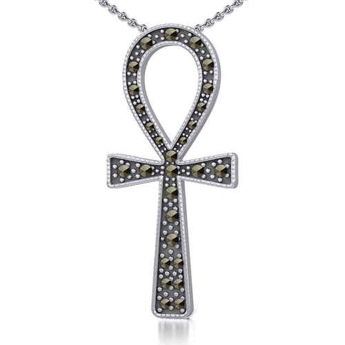 Sterling Silver Ankh Pendant with Marcasite TPD5317 peterstone.