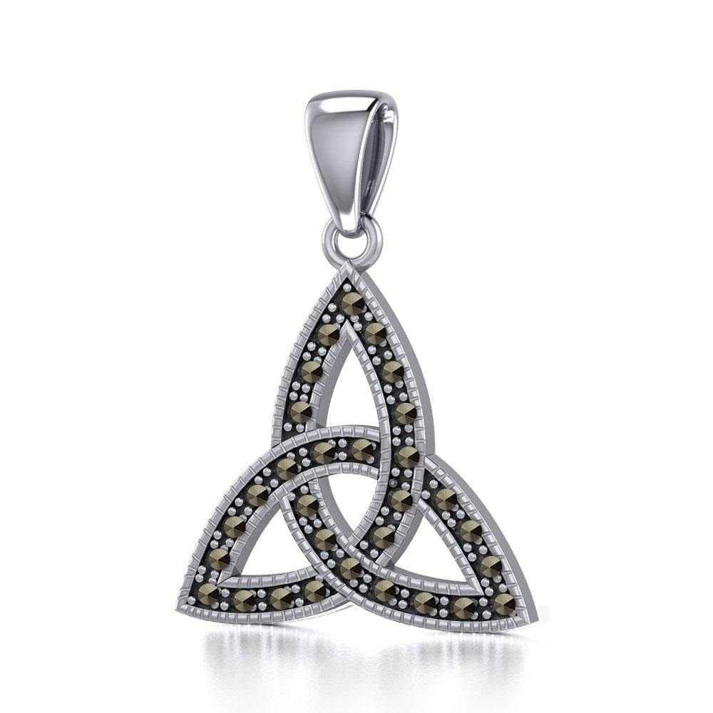 Sterling Silver Celtic Trinity Knot Pendant with Marcasite TPD5318