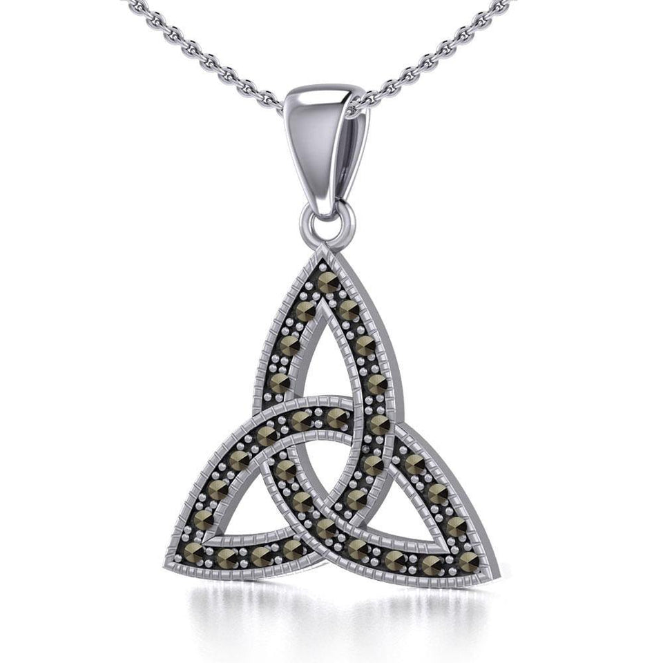 Sterling Silver Celtic Trinity Knot Pendant with Marcasite TPD5318 peterstone.