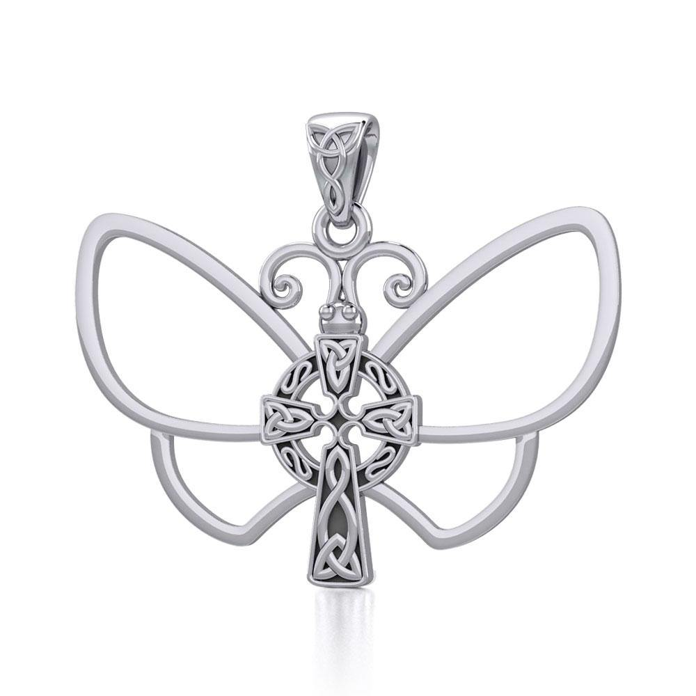 Sterling Silver Butterfly with Celtic Cross Pendant TPD5319