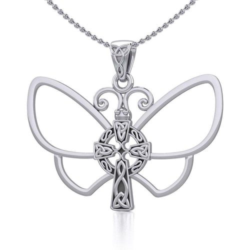 Sterling Silver Butterfly with Celtic Cross Pendant TPD5319 peterstone.