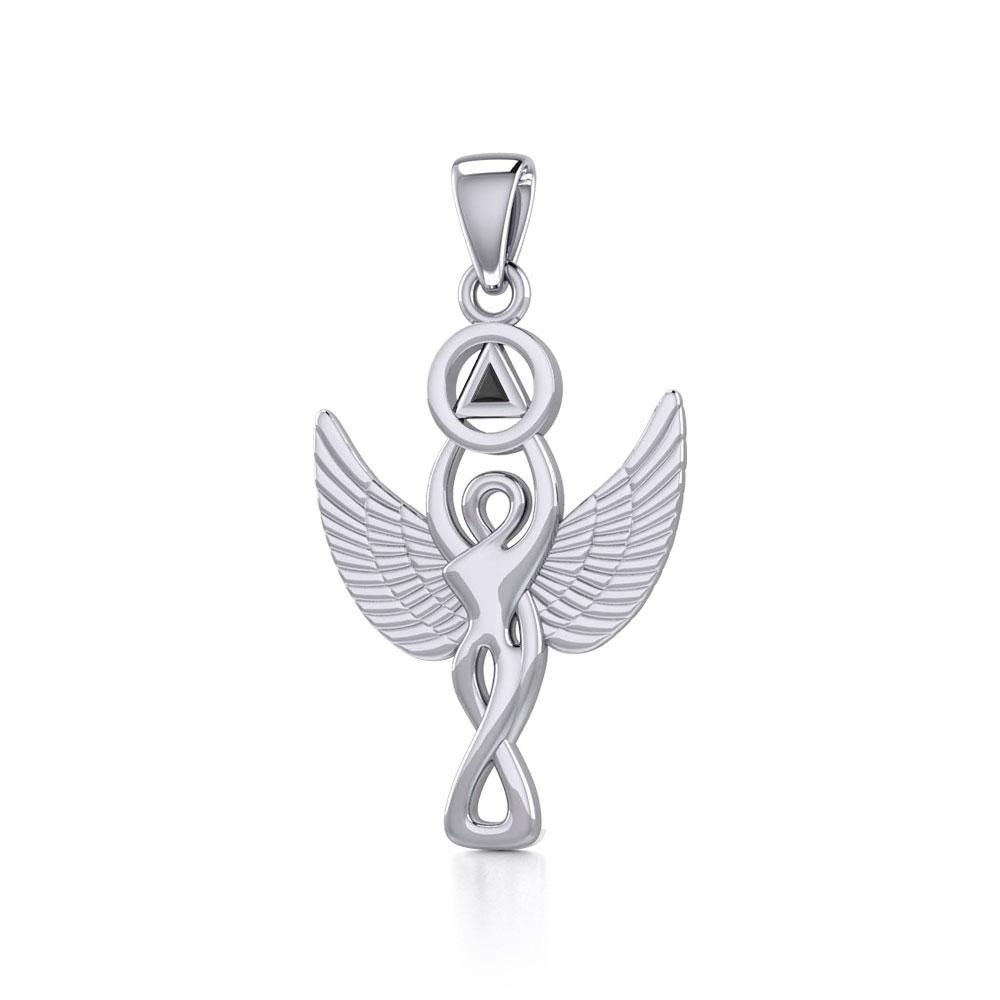 Silver Winged Goddess Pendant with Inlaid Recovery Symbol TPD5321